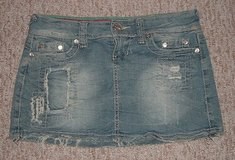 ynq patched fringed distressed denim jean mini skirt womens size 1 juniors in Yorkville, Illinois