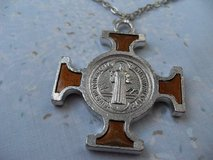NEW Style Cross Silver w/Brown Gold on Silver Chain Guys or Gals in Kingwood, Texas